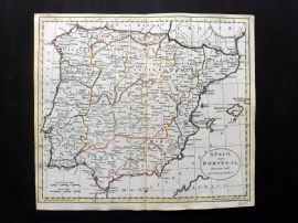 Guthrie 1788 Antique HCol Map. Spain and Portugal from the best Authorities